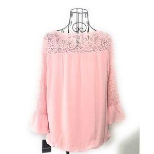 IN Studio Pink Bell Sleeve Lace Blouse